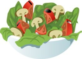 salad, vegetables and mushrooms in bowl, healthy food