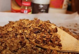 granola, oats with cinnamon and brown sugar, healthy food