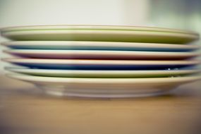 colorful plates on table