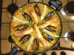 mediterranean paella with seafood and rice