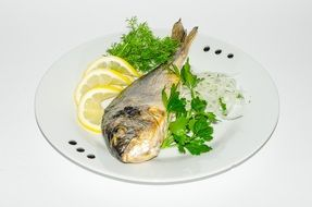 dish of fish with lemon and greens