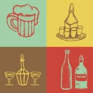 alcoholic beverages collage drawing