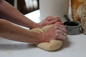 Cooking fresh homemade bread