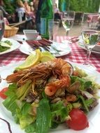 seafood salad on a white plate