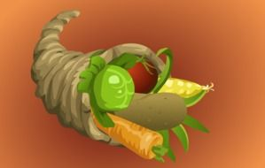 cornucopia full of vegetables, thanksgiving illustration