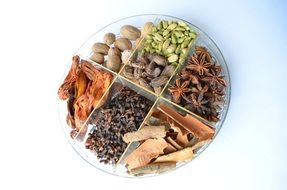 plate with different kinds of spices and nuts