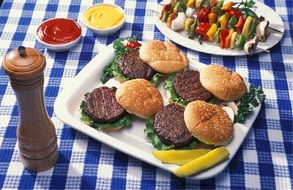 hamburgers on a plate
