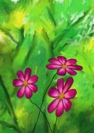 drawing of violet flowers on green background
