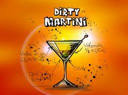 dirty martini alcohol cocktail drink