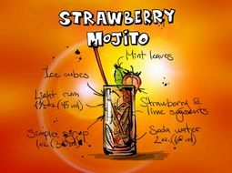 drawing of strawberry mojito cocktail drink with recipe