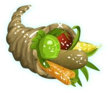 drawn horn of plenty with vegetables