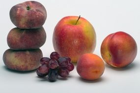 fruits still life with apple and apricots