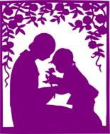mother child silhouette purple drawing