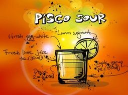 drawing of pisco sour alcohol cocktail drink