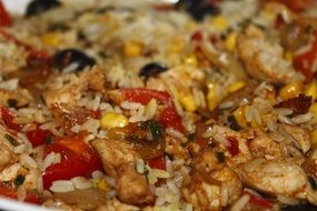 asian paella with chicken