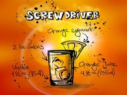 drawing of screwdriver cocktail alcohol drink