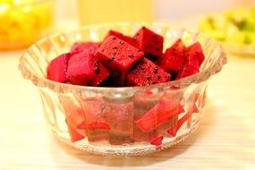 Diced watermelon in the glass bowl