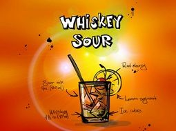 drawing of whiskey sour cocktail alcohol drink with recipe