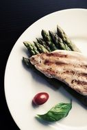 dish with chicken and asparagus