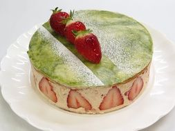 cake with marzipan and strawberries