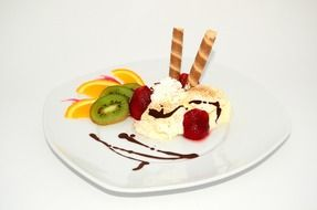 fruit and ice cream dessert sweets
