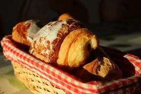 puff pastry, croissants in basket