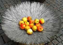 bright apples, fruits on metal dish