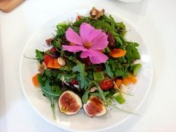 vegetarian salad with cosmos flower