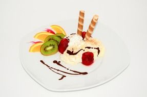sweet dessert ice cream fruits chocolate Biscuit