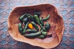 green chili peppers in a wooden bowl
