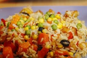 rice with colorful vegetables