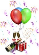 drawn gift, champagne and balloons
