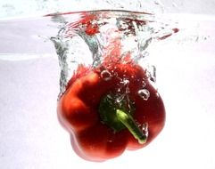 red sweet pepper in water