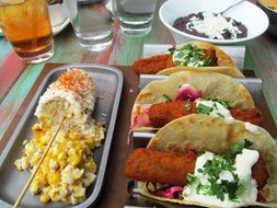 taco, traditional mexican food served in restaurant