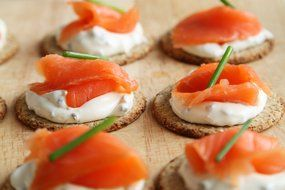 canape with salmon and cream sauce