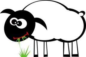 cartoon sheep eating grass