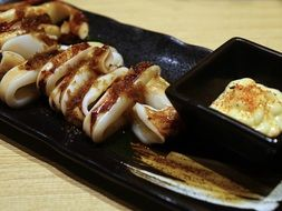grilled squid with sauce