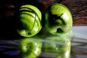 two green apple fruit