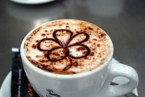 coffee cappuccino with flower pattern