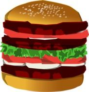 graphic image of a huge burger