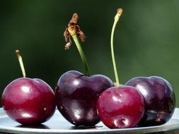 ripe sweet maroon cherries