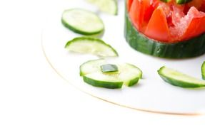 Vegetable salad with cucumbers and tomato