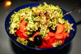 salad with tomatoes and cucumbers and greens