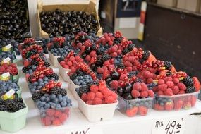 red black blue berries in boxes