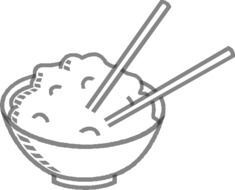 Chopsticks in a bowl of rice