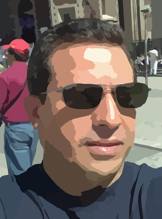 graphic portrait of a man in sunglasses