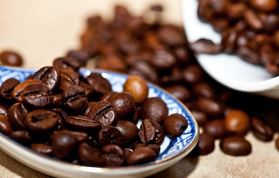 coffee beans on a saucer