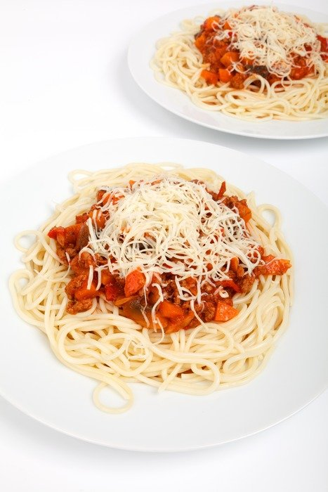 tasty spaghetti with tomato and cheese