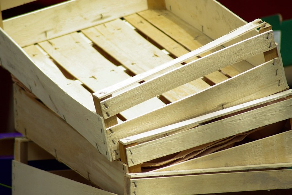 folded wooden crates close-up