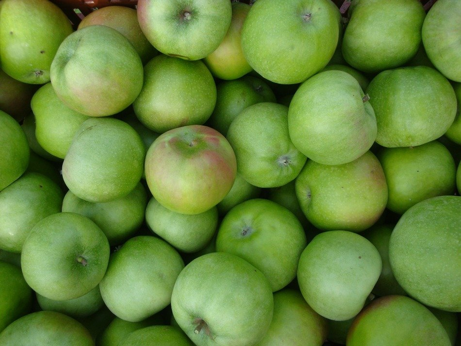 green apples, top view, background
